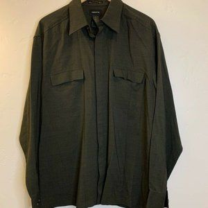 Claiborne Mens Button Front Shirt Gray Long Sleeve